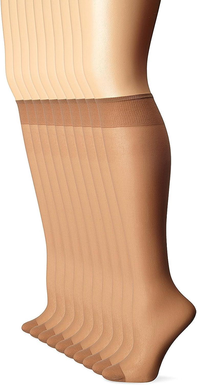 L'eggs Women's 10 Pair Everyday Reinforced Toe Knee Highs (Suntan 3 Pack (30 Pairs Total))