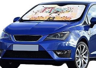 Camion Prom-note Pare-Soleil de Voiture/ Coupe de Voiture /Écran Solaire 130/* 70/cm Taille Flexible pour SUV /Dessin anim/é de Voiture Solaire Protection Foils Car Avant fen/être Visi/ère