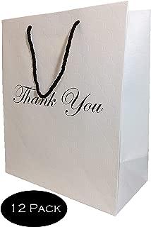 "White Matte Thank You Gift Bags Bundle, Large Premium Retail Art Paper Shopping Wedding Modern Circle Embossed Euro Tote High Quality 250 g -12 Pack- 10"" x 13"" x 5"" Modeeni Packaging (10 x 13, White)"