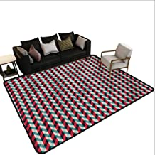 Decorative Floor mat,Vintage Country Style Pattern with Diagonal Checks and Vertical Stripes 6'6