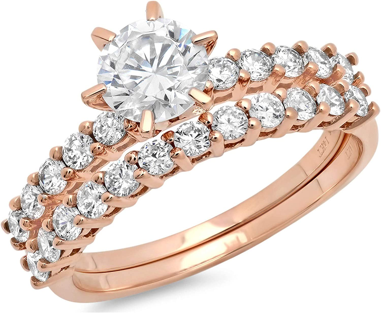 3.0ct Round Cut Pave Solitaire Accent Lab Created White Sapphire & Simulated Diamond Engagement Promise Statement Anniversary Bridal Wedding Ring Band set Real Solid 14k Rose Gold