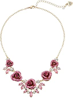 Betsey Johnson - Glitter Rose Necklace Rose