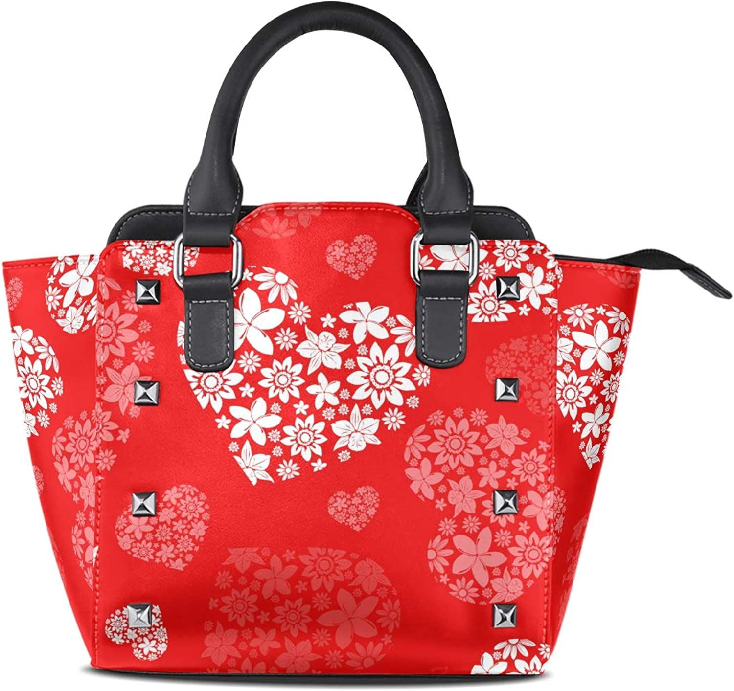 My Little Nest Women's Top Handle Satchel Handbag Red White Floral Hearts Ladies PU Leather Shoulder Bag Crossbody Bag