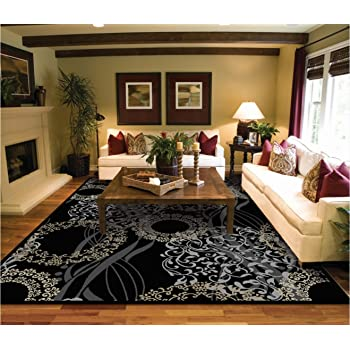 Amazon.com: Luxury Modern Rugs for Living Dining Room Black Cream