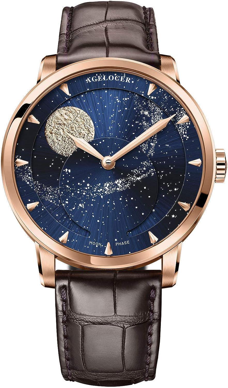 Agelocer Reloj de pulsera masculino de lujo para hombre con fase lunar azul
