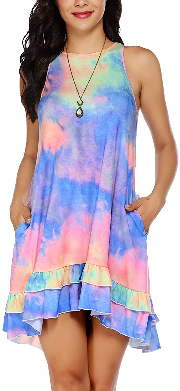 Beyove Summer Beach Dress Swimsuit Cover Ups for Women Loose T Shirt Ruffle Dress with Pockets