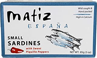Matiz Sardinillas with Sweet Piquillo Peppers - Wild Caught, Baby Sardines (3 oz. - 12 Pack)