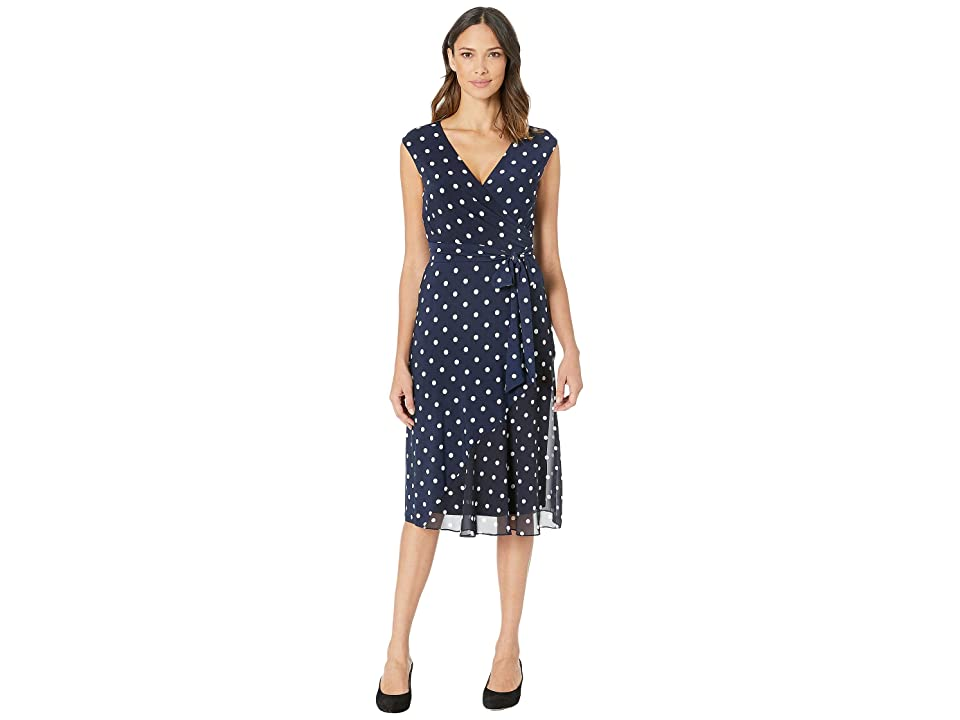 LAUREN Ralph Lauren B920 Driver Dot Matte Jersey Jori Cap Sleeve Day Dress (Lighthouse Navy/Colonial Cream) Women