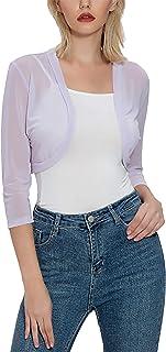 Tandisk Women's 3/4 Sleeve Shrug Open Front Cardigan Bolero Jacket