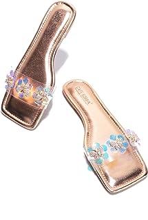 كايب روبين باستو صندل شباشب مرصع بالمجوهرات للنساء، أحذية نسائية شفافة سهلة الارتداء