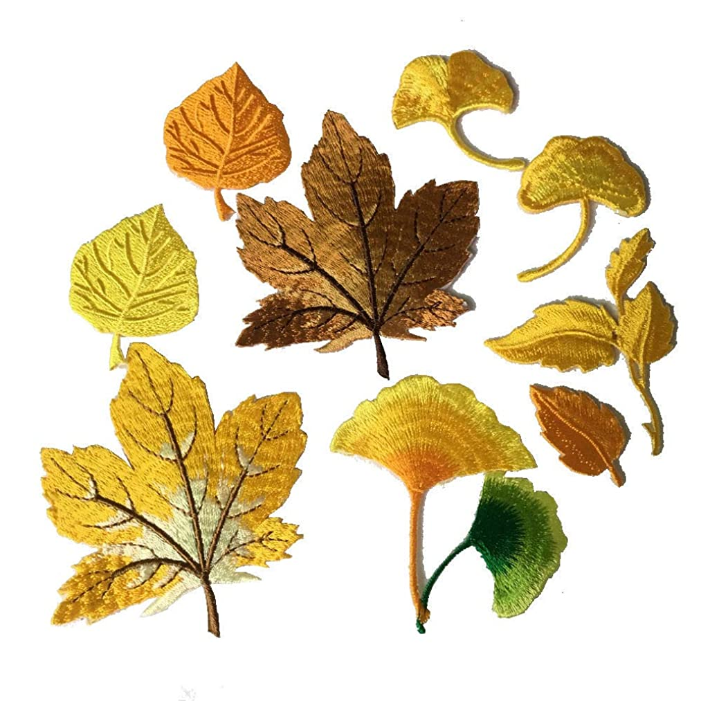 10pcs Yellow Assorted Maple leaves Lucky Shamrock Iron on Patches Embroidered Applique