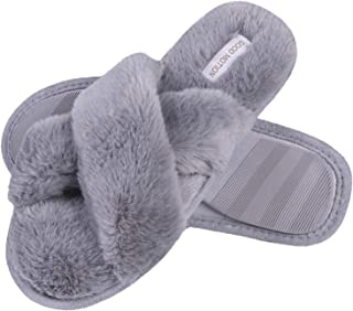 Women's Memory Foam Slippers,Comfortable Cross Band Fuzzy House Slippers for Women, Warm Plush Open-Toe Breathable Soft Pl...