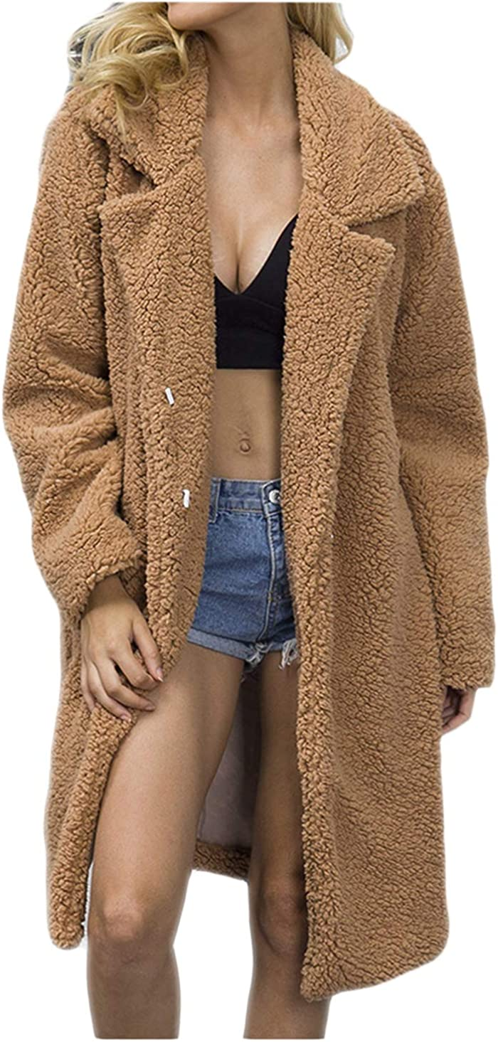 Women's Faux Fur Long Parka Outwear Fluffy Long Sleeve Casual Chunky Overcoat for Work Daily