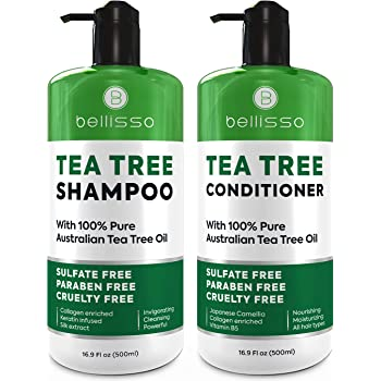 Tea Tree Oil Shampoo and Conditioner ​Set - Natural ​Anti Dandruff Sulfate Free Scalp Treatment - Antifungal ​and​ Antibacterial