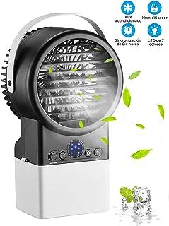 Mini Aire Acondicionado Portátil, Humidificador, Purificador, Ventilador en Mesa con Tanque de Agua, 7 Colores de Luz, Cómodo para Dormitorio, Oficina