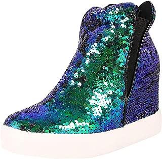 Cape Robbin Womens Round Toe Sequined Shoes Hidden Wedge Heel Platform Sneaker Ankle Booties Boot
