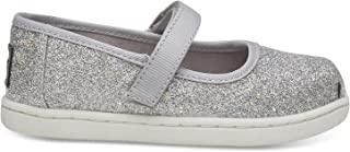 TOMS Silver Iridescent Glimmer Tiny Mary Jane Flat 10011521 (Size: 6)
