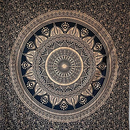 momomus Tapiz de Mandala - De Algodón - Decoración de Paredes para Hogar - Grande, Versátil y Decorativo - Pareo/Toalla de Playa, Sofá, Colcha, Cubrecama (Negro y Oro C, 210x230 cm)