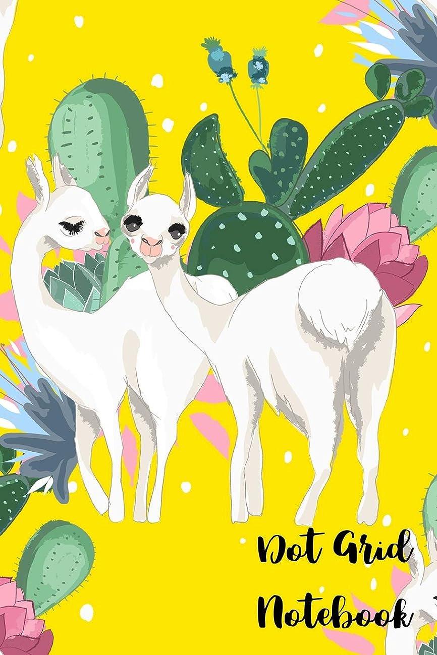 夜明け大腿ブラジャーDot Grid Notebook: 110 Dot Grid pages (Yellow Cactii Friendly Llama)