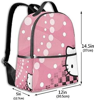 Classic School Backpack Hello Kitty Dots Unisex College Schoolbag Travel Bookbag Black