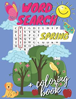 Spring Word Search + Coloring Book: Activity Book for Kids Ages 4-8   100 Pages with Vocabulary