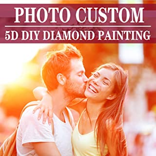 Custom Diamond Painting Full Drill Kits for Adults/Private Custom Your Own Personalized Picture/Birthday Gift Home Wall Decor(Round Diamond 11.8×11.8 inches)