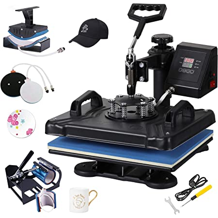 """SURPCOS Heat Press Machine 5 in 1 Heat Transfer Machine HPM-121505 12""""x15"""" Digital Sublimation Heat Press Machine for T-Shirts Hat Mug Plate Cap Bottle with 360-Degree Swing Away Function"""