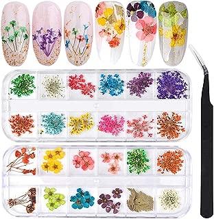 dried flowers gel nails