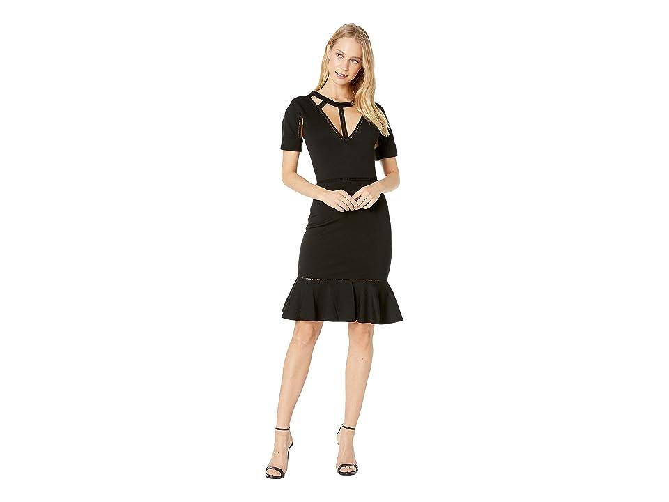Bebe Lattice Detail Flare Dress (Jet Black) Women