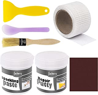 fowong Drywall Patch Repair Kit Putty and Paint,Drywall Tools Kit to Fix Wall Holes and Creak Damage with Self-Adhesive Back Plate Putty Knife and Sanding Pad