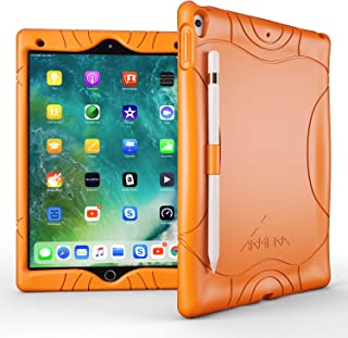 Armera iPad Air 3 Case (10.5 Inch, 2019), iPad Pro 10.5 Case, Heavy Duty Shockproof Kids Friendly Silicone Case Cover with Apple Pencil Holder, Corner Protection (Orange)