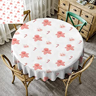 Merry Christmas, Dust-Proof Table Cover, Christmas Decoration Wrinkle Free Round Tablecloth for Kitchen Dinning Tabletop Decoration Xmas Gingerbread Candy Cane Rabbit White - 51