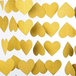 MOWO Heart Paper Garland Circle Chain Hanging Decor, 10ft (glitter gold, 2pc)