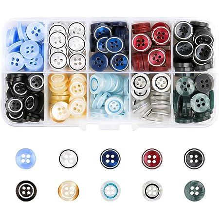250 botones de colores de plástico para camisas, botones con cuatro ojos para coser y coser cárdigan, ropa, textiles