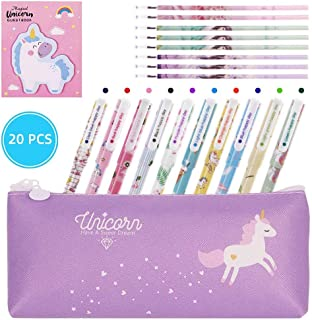 Dsaren 20 Pcs Set Papeterie Licorne Trousse Stylos Flamingo Notes Adhésives et Recharge de Stylo, Cadeau D'anniversaire po...