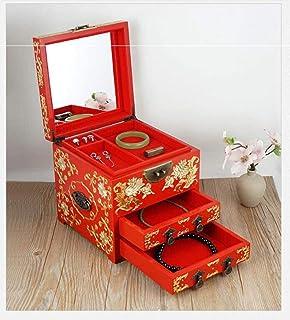 Scatola portagioie per attrezzatura vivente Scatola portagioie cinese lacca dipinta portagioie artigianale Legno laccato e...