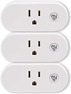 myTouchSmart WiFi Smart Switch Plug-in 3 بسته ای ، با الکسا ، دستیار Google ، برنامه های از پیش تعیین شده و سفارشی ، کنترل روشن / خاموش روشن ، سفید ، 54417 کار نمی کند بدون توپی لازم است