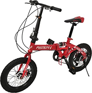 Aster Mini Folding Bike 7 Speeds, Red 16 Inch