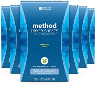 Method Dryer Sheets, Fresh Air, 80 Sheets, 6 pack, Packaging May Vary