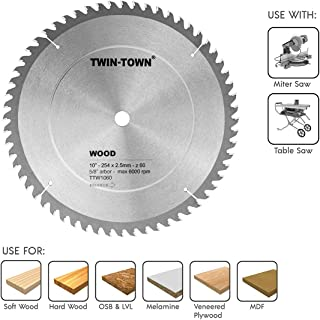 TWIN-TOWN 10-Inch Saw Blade, 60 Teeth,General Purpose for Soft Wood, Hard Wood & Plywood, ATB Grind, 5/8-Inch Arbor