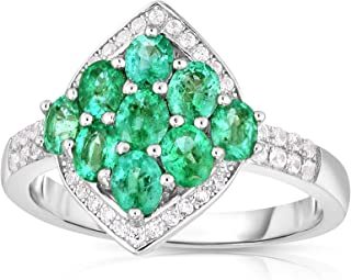 Femme Luxe Clover Natural Zambian Emerald Statement and White Zircon Ring for Women, 925 Sterling Silver, Hypoallergenic, ...