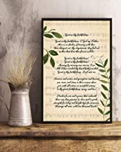 Wall Art-Great is Thy Faithfulness Song Lyrics Decor Portrait Poster Print for Home、Office and Cafe 18x14in with Frame