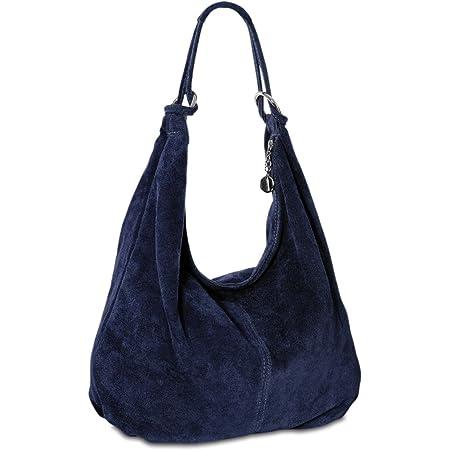 Caspar TL617 große Damen Vintage Veloursleder Tasche