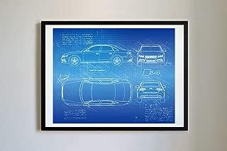 DolanPaperCo #355 Audi S4 Quattro 2008-12 Art Print, da Vinci Sketch – Unframed – Multiple Size/Color Options (Blueprint, 16x20)