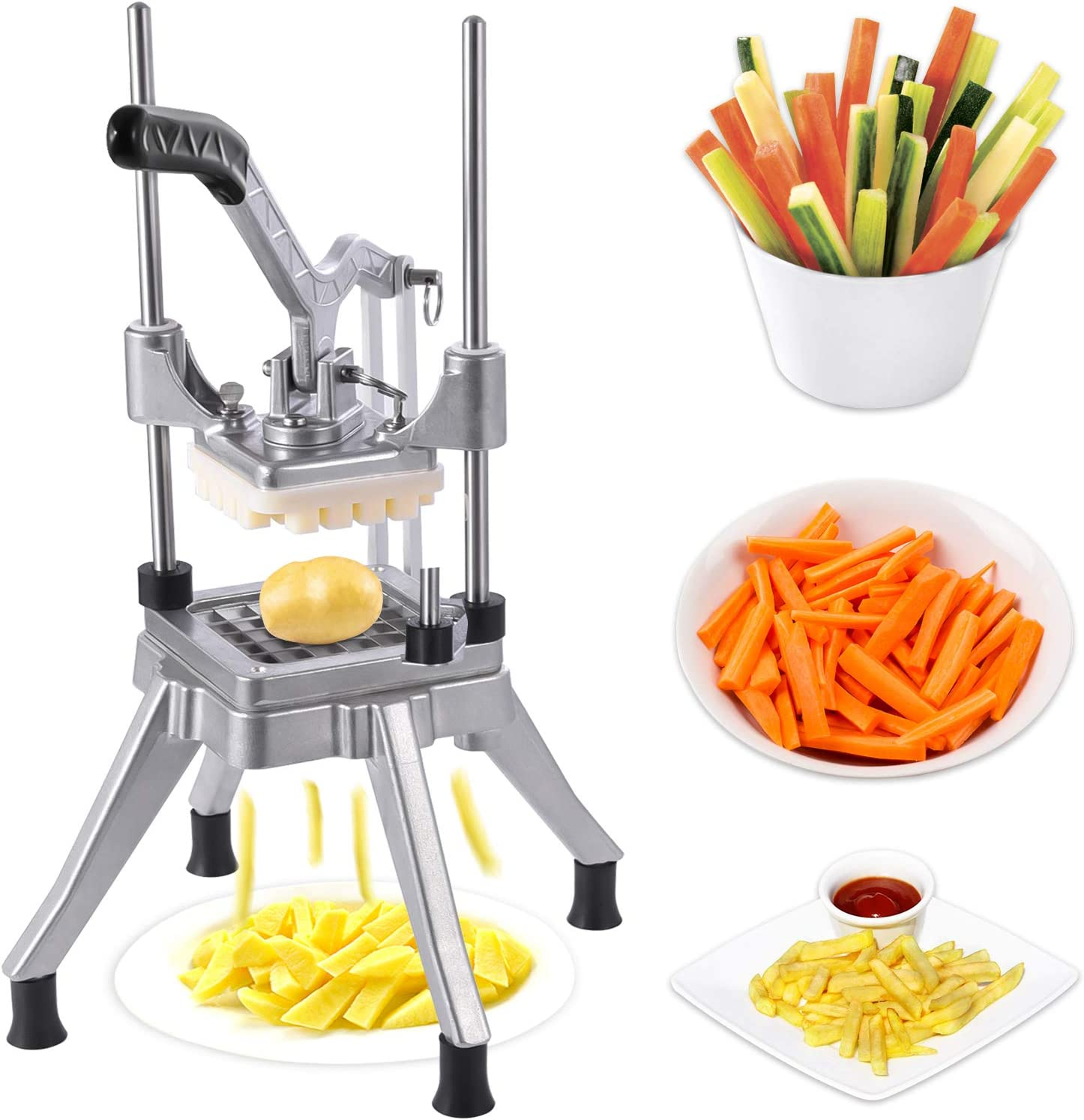 Commercial Vegetable Fruit Chopper, Heavy Duty Stainless Steel Professional Food Dicer Kattex French Fry Cutter For Onion, Peppers, Potato, Tomato, Mushroom (1/2'')
