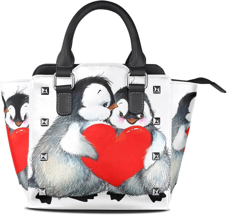 My Little Nest Women's Top Handle Satchel Handbag Cute Penguin Red Heart Ladies PU Leather Shoulder Bag Crossbody Bag
