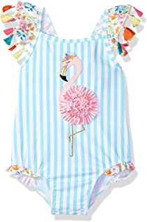 Mud Pie Girls' Baby Flamingo Tassel One Piece Swimsuit
