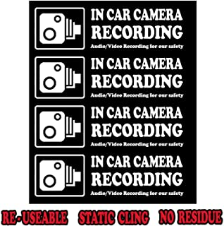 Camera Audio Video Recording Window Cars Stickers – 4 Signs Removable Reusable Indoor Dashcam in Use Vehicles Warning Decals Labels Bumpers Static Cling Accessories for Rideshare Taxi Drivers (White)
