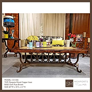 Stylized Rectangular Coffee Table Made of Wrought Iron and Enhanced with an Upscale top: a Mesquite Frame with Cream Travertine Inset
