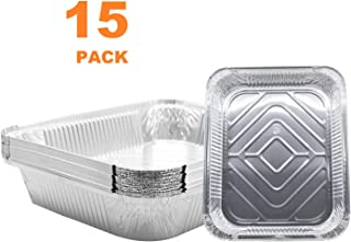 (15 Pack) 9 x 13 Aluminum Foil Pans - Disposable Steam Table Grill Drip Deep Trays, Meal Cooking, Baking, Roasting, Broiling, Heating Buffet Trays Tin Pans. Half Size- 12 1/2